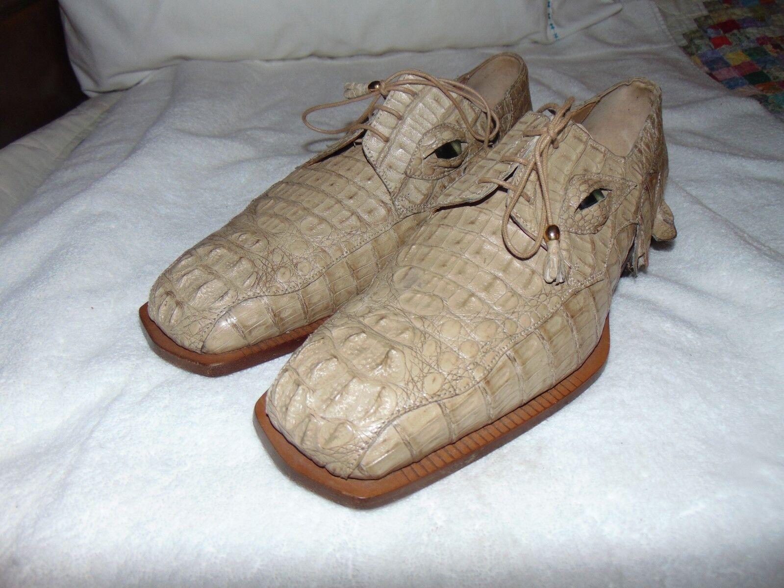 Fennix 2575 Men Italian Hornback Vintage Alligator Lace Up Oxfords 12  13  1599