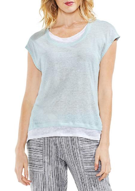 e1413c760ee120 Vince Camuto Blue White Linen Top Blouse Size M for sale online
