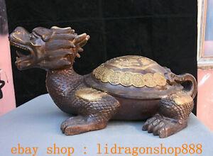 """21.2""""Ancien Chine Bronze Cuivre Feng Shui Dragon Tortue Longévité Statue"""