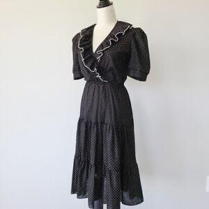 Vintage-Swiss-Dot-Ruffle-Puff-Sleeve-Prairie-Dress-Boho-Chic-Size-S-M