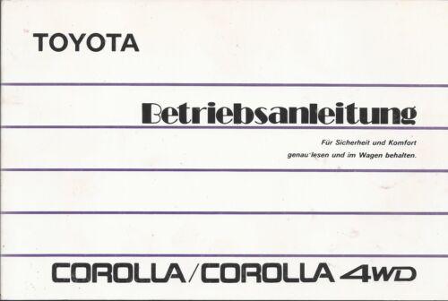 TOYOTA COROLLA 6 4wd e90 manuale di istruzioni 1988 manuale BA