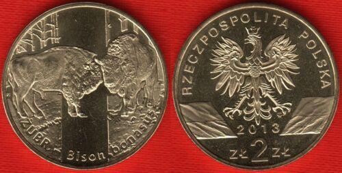 """Bison bonasus Poland 2 zlote 2013 /""""Wisent /"""" UNC"""