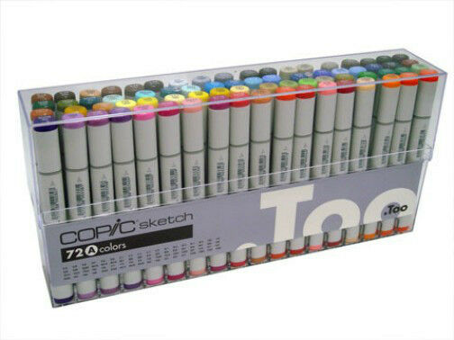 New Copic Sketch Markers 72 Piece Set A + Storage Box + Colorless Blender Bonus