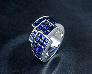 Solid-14K-WHITE-GOLD-Natural-Blue-Sapphire-Engagement-Wedding-Jewelry-Nice-Ring