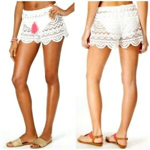 Miken-Women-039-s-Swimsuit-Cover-Up-Shorts-White-Lace-Scalloped-Hem-Adjustable