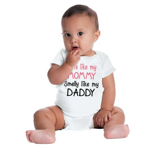 Cute Like Mommy Smelly Like Daddy Gerber OnesieNew Mother Father Baby Romper