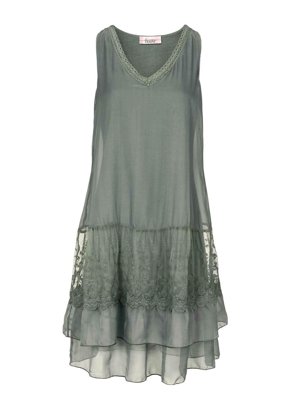 TCJ Linea Tesini Damen Designer Kleid mit Spitze Spitze Spitze Sommerkleid Freizeitkleid Oliv | Moderne und stilvolle Mode  | Günstig  | Haltbarer Service  d2295a