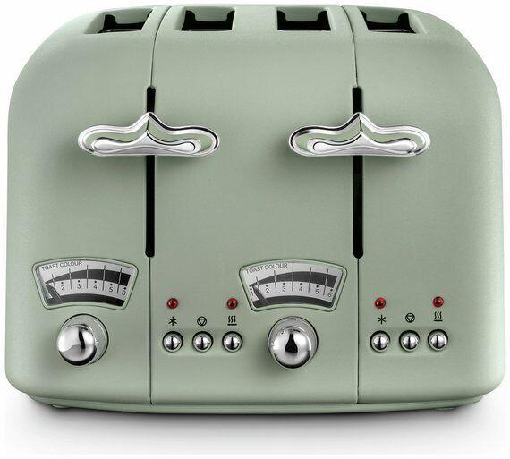 De 'Longhi CTO4 argent Flora Grille-pain 4 fentes avec Cool Touch-Vert Nouveau _ UK _ vendre