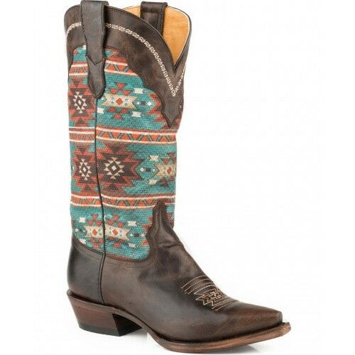 Roper Women's Chelly Aztec Print Cowgirl Boot Snip Toe  Size US 9