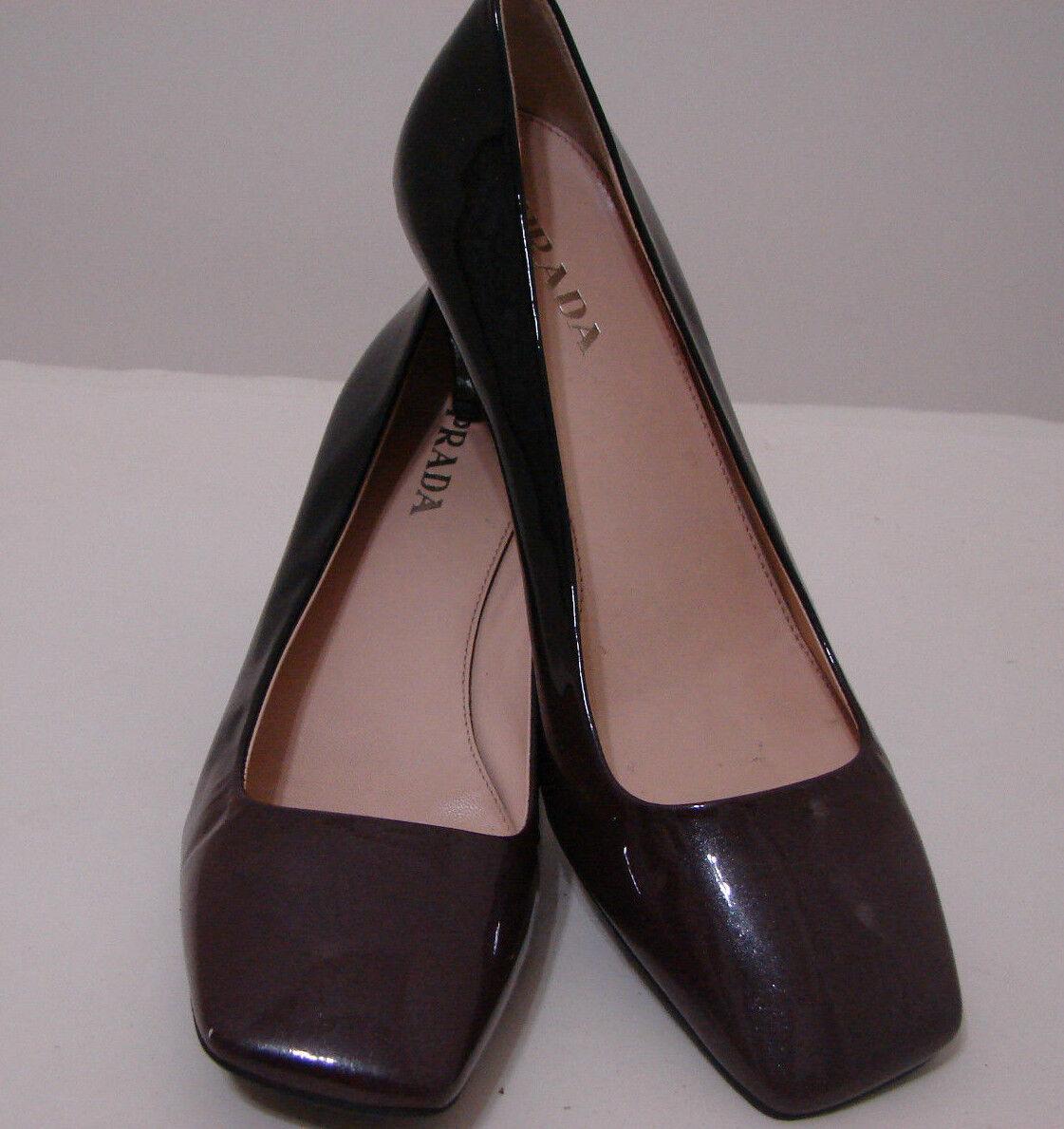 PRADA Vintage Black Brown Ombre Patent Leather Pumps NWD 39.5