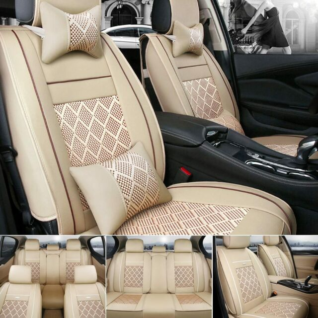 US Car Seat Cover PU Leather&Mesh 100% 5-Seats SUV Sedan Front+Back Full Cushion