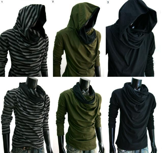 New Men longsleeve Stripe BLACK turtle COWL NECK Hoodie scraf shirt S M L XL XXL