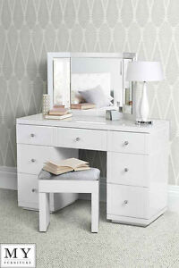white glass furniture. Image Is Loading Large-White-Glass-Dressing-Console-table-desk-from- White Glass Furniture 3
