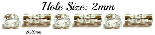 6 x ton argent 8x6mm Hollow Tube Perles Cheveux Tresses dreads dreadlocks Trou 4 mm
