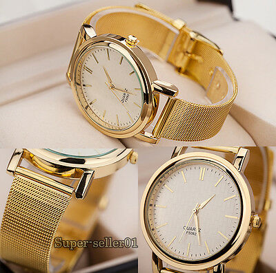 Womens Elegant Golden Plated Metal Mesh Band Wrist Watch Hot Sale Attractive New
