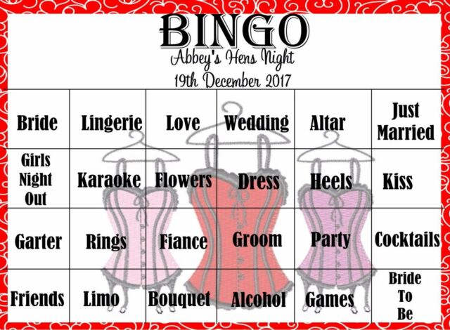 Personalised Kitchen Tea/ Bridal Shower Game - BINGO - 20 Guests FREE POSTAGE