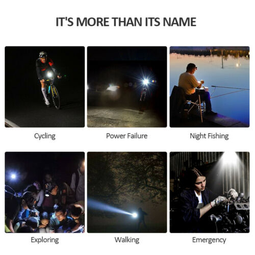8000 Lumen USB Bicycle LED Front Rear Lamp Set Rechargeable Cycling Bike Light