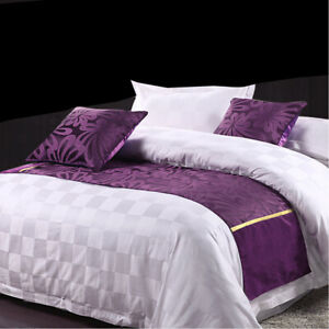 Purple-Bed-Runner-Home-Hotel-Decorative-Cover-Mat-For-Single-Double-King-Bedding