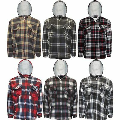 Mens Sherpa Fur Fleece Lined Hoodie Jacket Lumberjack Hooded Work Padded Shirt