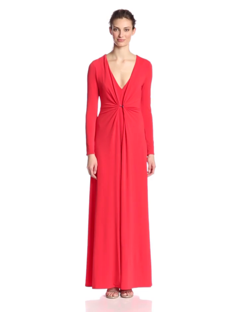6be4ece0768f HALSTON HERITAGE Women's Long-Sleeve Deep V-Neck Gown with Overlay Detail  Red L