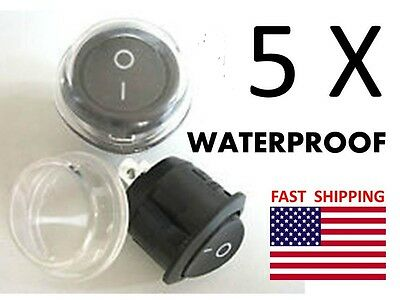 5 WATERPROOF Switches 2 wire Boat Marine SPST Universal 12v DC or AC Switch