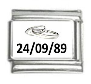 Italian-Charms-Custom-Made-Wedding-Anniversary-amp-Date-Fits-Classic-Size-Bracelet