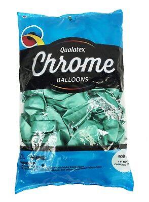 "Qualatex 11/"" Round Chrome Blue Metallic 20pc to 100pc Latex Balloon"
