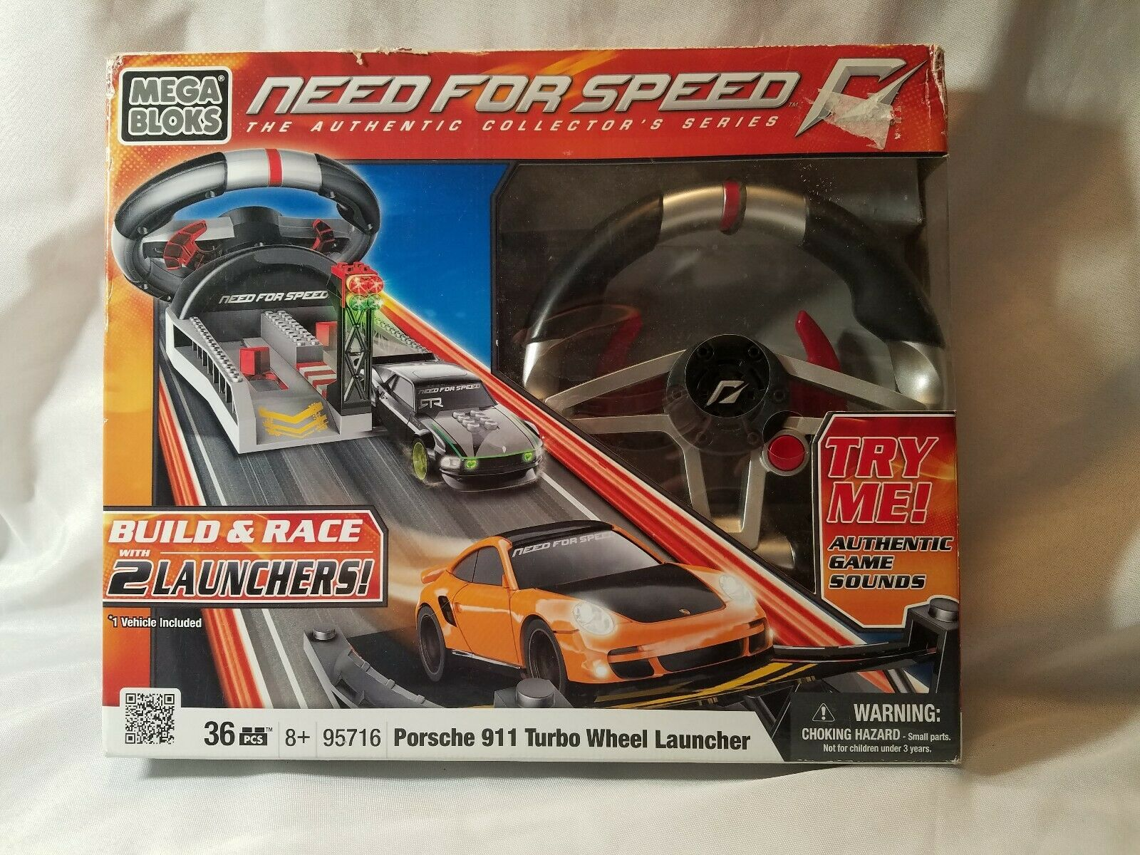 Mega Bloks Need for Speed Porsche Turbo 911 w//Sounds /& 2-Car Launcher NEW IN BOX