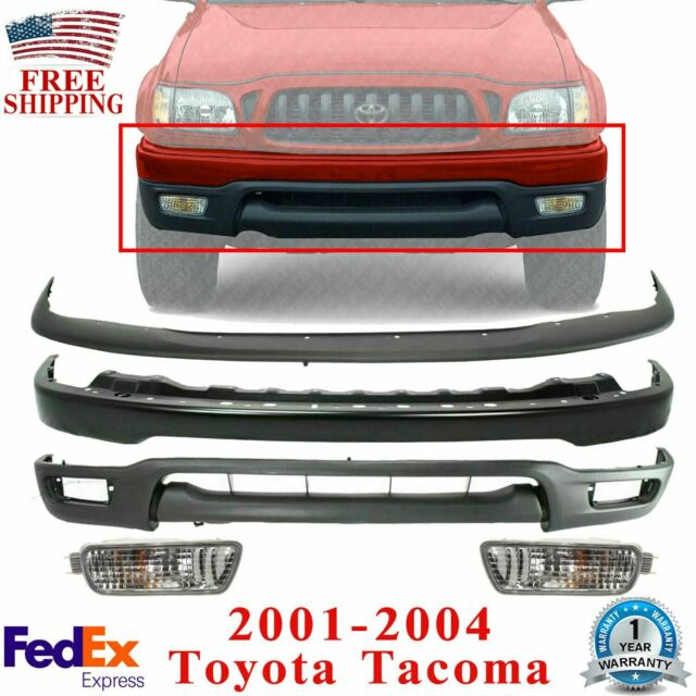 Front Bumper Primed  + Filler + Valance + Fog Lights For 2001-2004 Toyota Tacoma