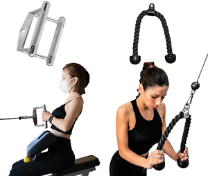 """7.5/"""" Double D Handle Bar Lat Pulldown Attachments Cable Gym 28/"""" Tricep Rope"""