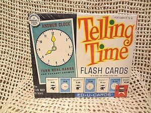 Vtg-1963-TELLING-TIME-Flash-Cards-by-ED-U-CARDS-Ages-5-9-Original-FACTORY-SEALED