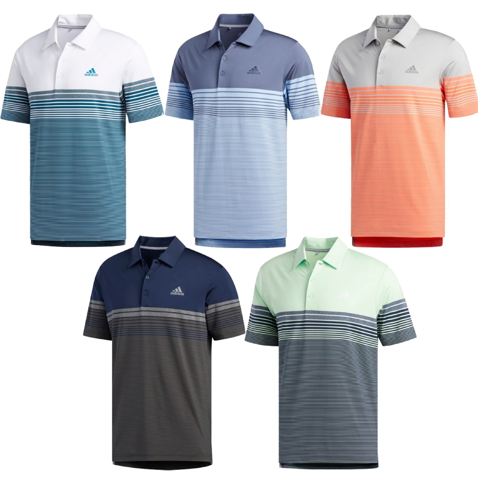 NEW Adidas 2019 Ultimate Gradient Block Stripe Polo - 5 Colours