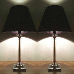 PAIR Of NEW Bedside Table DESIGNER MODERN LAMPS With Black