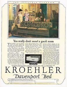 Details about 1920s BIG Original Vintage Kroehler Furniture Davenport Bed  Art Print Ad b