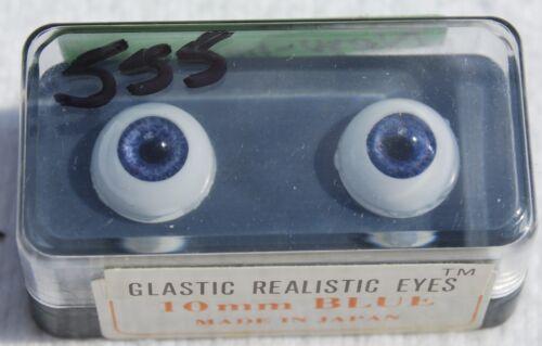 NOS BLUE GLASTIC Realistic DOLL EYES 10 mm