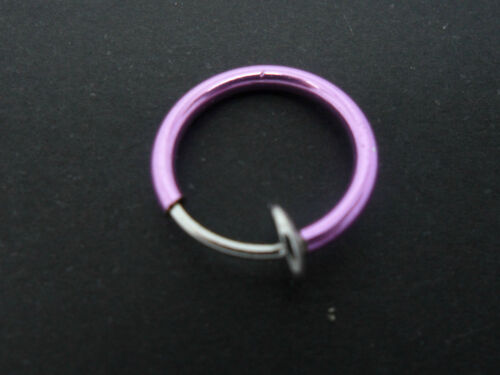 12MM NEW. A  PURPLE COLOUR  FAKE  LIP EAR  NOSE RING
