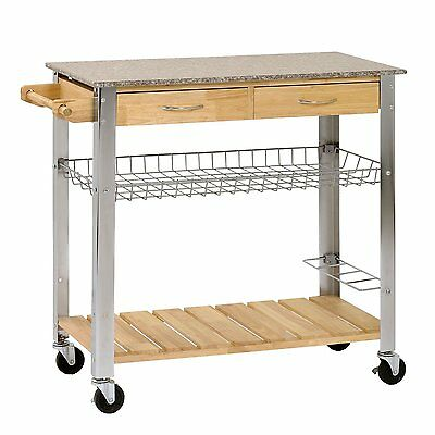 Rubber Wood Kitchen Trolley with Marble Top, mobile cart, storage AB298827
