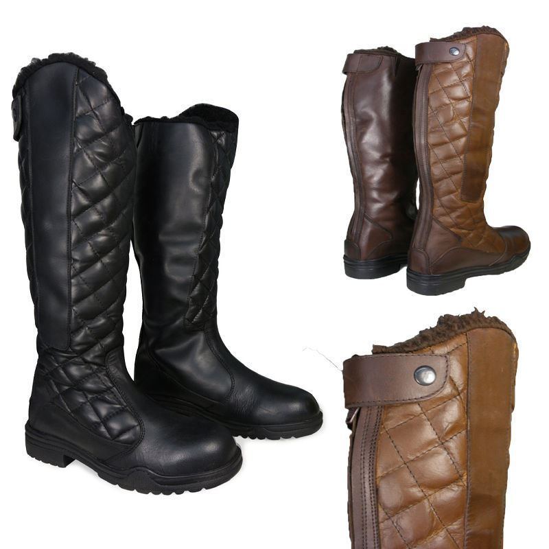 Ladies   Mens Horse Riding Fur Lined Yard Country Walking Tall Leather Boots NEW