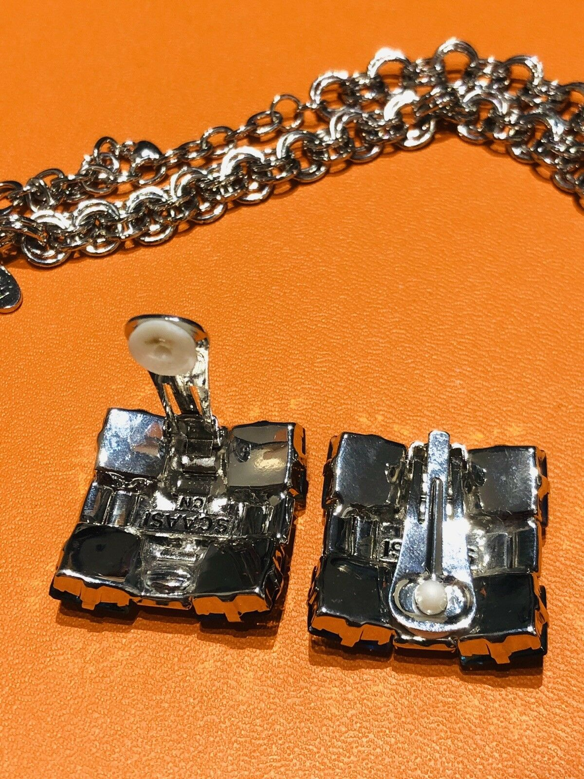Arnold Scaasi Multi Color Crystal Square Necklace… - image 6