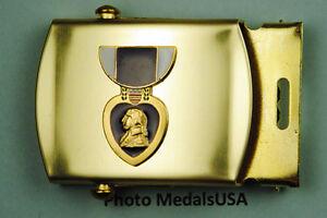 Purple-Heart-Medal-Black-Web-Belt-amp-brass-buckle-BB754