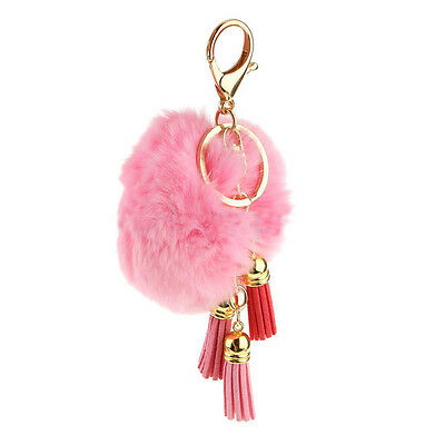 Leather Tassel Fringe Key Chain Fur Rabbit Ball Fashion Handbag Pendant Women
