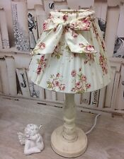 Shabby Chic French Country Ditsy Floral Cream Wooden table  Lamp with Bow