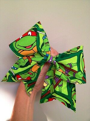 TMNT Teenage Mutant Ninja Turtles Big Cheer Bow Glitter Hair Dance Green