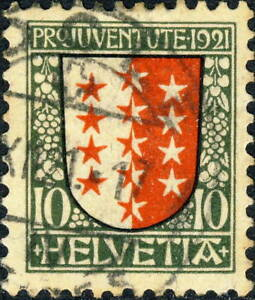 SUISSE-SWITZERLAND-SCHWEIZ-1921-034-Pro-Juventute-034-10c-5c-Mi-172-Very-Fine-Used