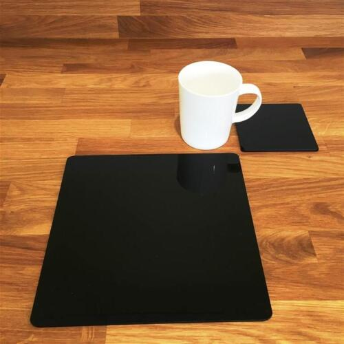 """De forme carrée noir vernis acrylique Sets de Table /& Sous-verre 4//6//8 taille 9/""""//12/"""""""