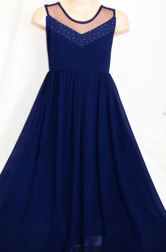 GIRLS NAVY DARK BLUE JEWEL BEAD TRIM MESH CHIFFON FULL LENGTH MAXI PARTY DRESS