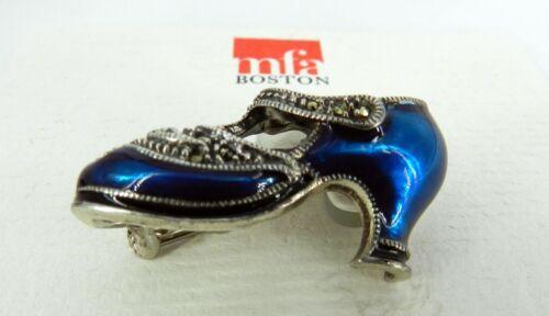 en pinceau forme Cristal Silver guilloché émail en Broche Museum de bleu Sterling BtY64