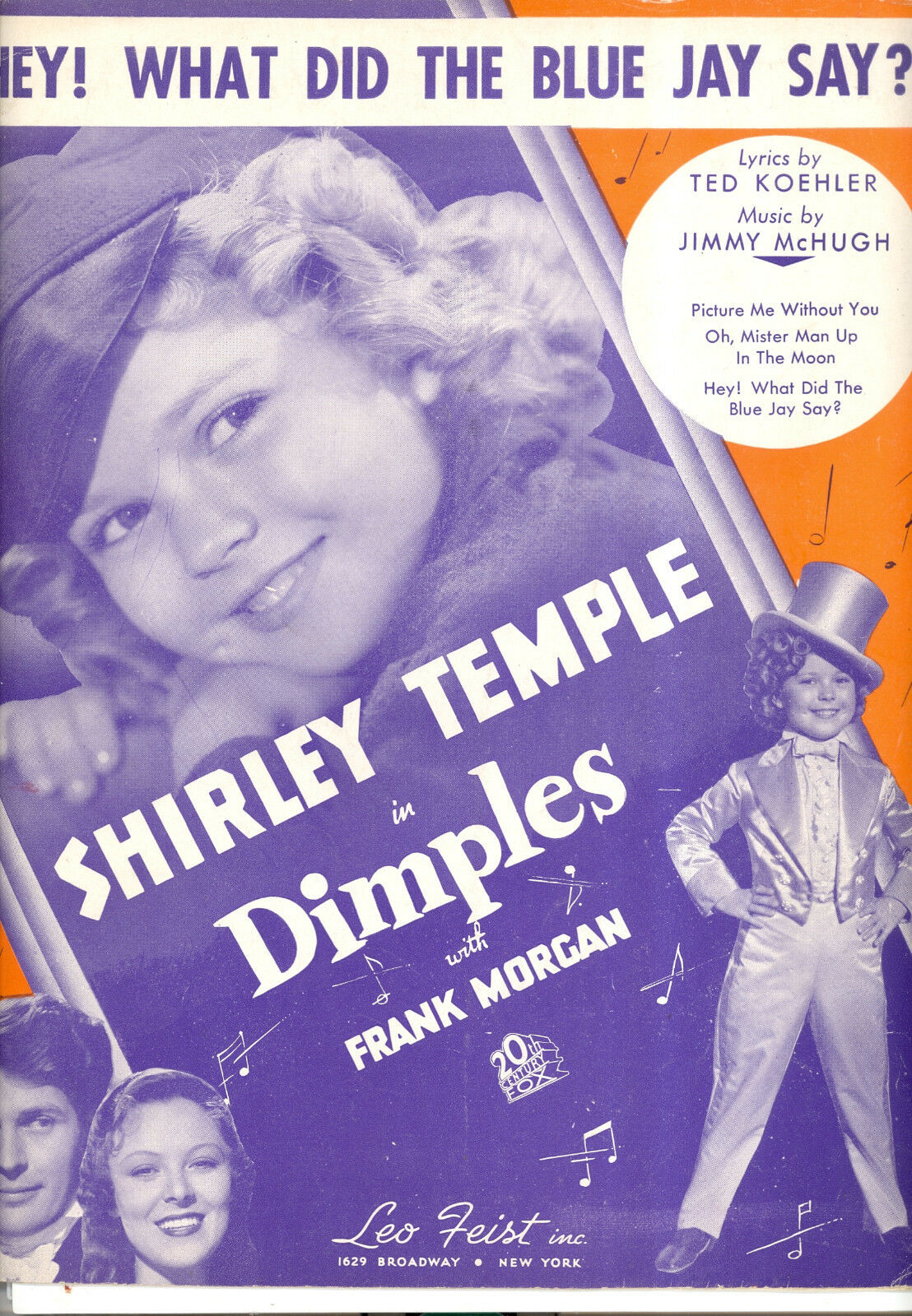 DIMPLES Sheet Music  Hey  What Did The Blau Jay Say  Shirley Temple