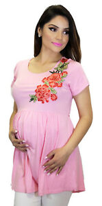 cb5c9297a2e86 Image is loading Pink-Rose-Embroiery-Maternity-Blouse-Short-Sleeve-Top-