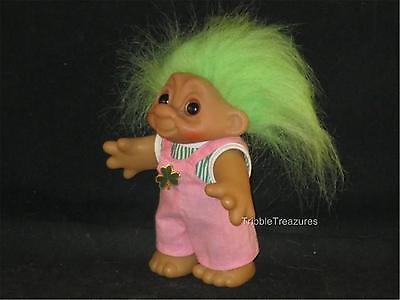 "5.25"" 1984 DAM TROLL LIME SPIKY HAIR PINK SUSPENDER OVERALLS GREEN SHIRT + PIN!"